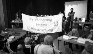 28.& 29.01.1981: Gorleben Hearing in Lüchow, Gildehaus. Fotos: Günter Zint